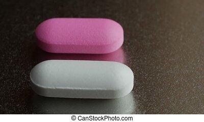 tourner, deux, drugs., arrière-plan., médecine, pilules, argent