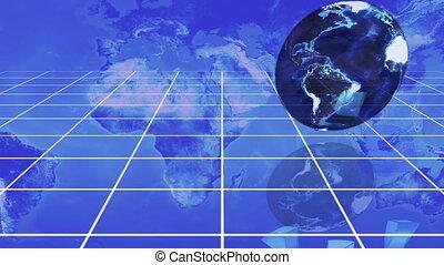 tourner, diagramme, la terre