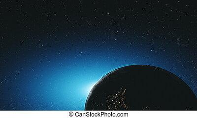 tourner, espace extérieur, étoilé, orbite, surprenant, la terre