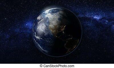 tourner, espace, planète, terre tournant, sien, axe