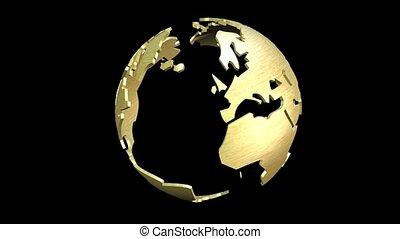 tourner, globe terre, animation