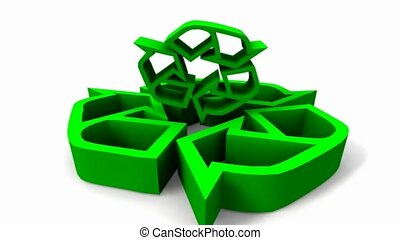 tourner, groupe, flèches, vert