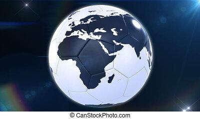 tourner, la terre, football, aimer, balle