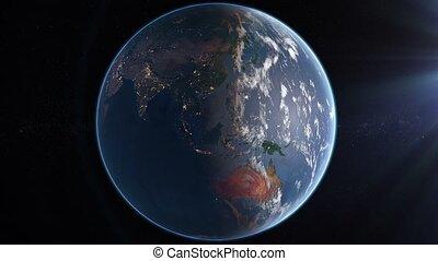 tourner, la terre, -, jour, nuit