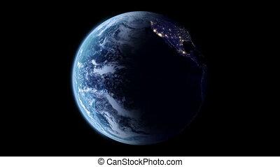 tourner, la terre, lentement
