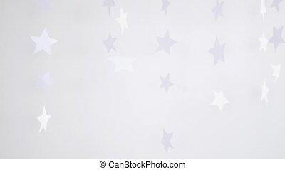 tourner, lent, flocons neige, concept., motion., trois, décoration, arrière-plan., papier, pendre, noël blanc, 3840x2160