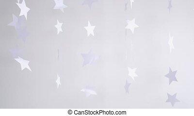 tourner, lent, magie, concept., motion., décoration, arrière-plan., papier, étoiles, pendre, noël blanc, 3840x2160