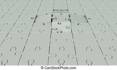 tourner, lumière, morceaux puzzle