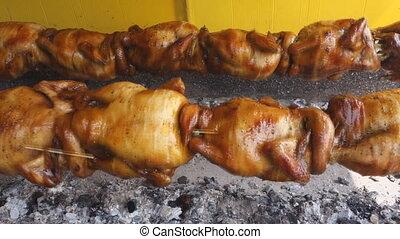 tourner, machine, poulet, grillé