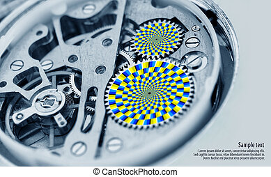 tourner, optique, -, illusion, engrenages