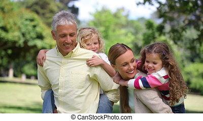 tourner, parents, enfants, leur, dos