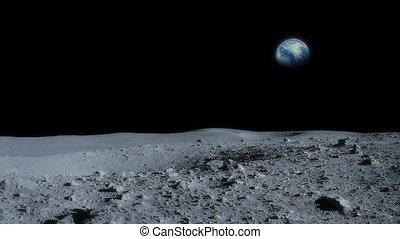tourner, passé, lune, la terre