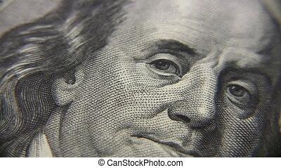 tourner, personne, dollar, billet banque