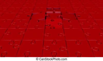 tourner, puzzle, rouges, morceaux