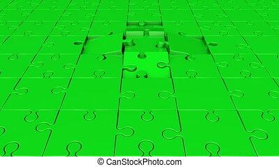 tourner, puzzle, vert, morceaux
