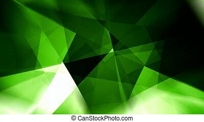 tourner, résumé, seamless, mouvement, incandescent, vert, triangles, fond, boucle