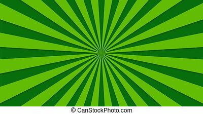 tourner, rayons, animé, arrière-plan vert