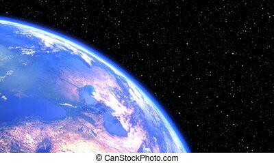 tourner, render, espace, -, seamless, terre planète, closeup., boucle, 3d