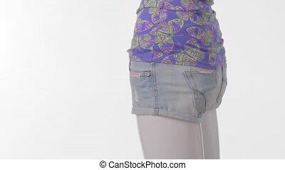 tourner, shorts., court, mannequin