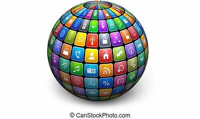 tourner, sphère, couleur, icônes