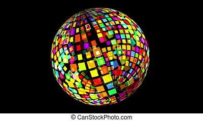 tourner, sphère, disco