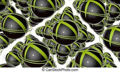 tourner, sphères, résumé, jaune, sombre, rendre, rings., 3d