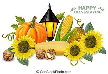 tournesol, citrouille, légumes, thanksgiving, automne, réaliste, vector., cartes, frais, 3d, récolte, illustrations.