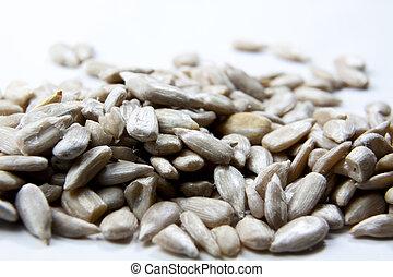 tournesol, haut, clair, graines, fond, fin, affiché