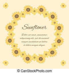 tournesol, salutation, clair, vecteur, fond, carte