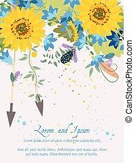 tournesol, salutation, illustration, hand-drawn, fond, floral