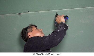 tournevis, bricoleur, plafond, drywall, accumulator, fixation