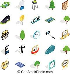 Tourney icons set, isometric style - Tourney icons set....