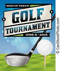 tournoi, aviateur, illustration, golf