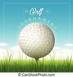 tournoi, vecteur, golf, fond