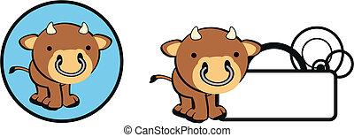 touro, bebê, copysapce, caricatura