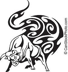 touro, em, tribal, estilo, -, vetorial, image.