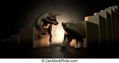 touro urso, mercado, estátuas