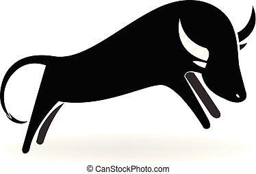 touro, vetorial, pretas, ícone