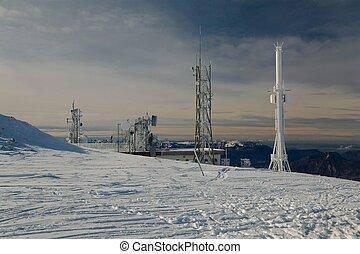 tours, émetteur, colline hiver
