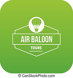 Tours air balloon icon green vector