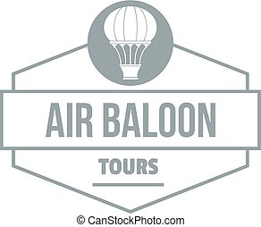 Tours air balloon logo, simple gray style