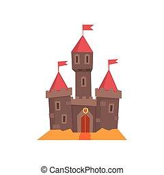 tours, architecture., app, conception, roof., conique, bois, bâtiment., livre, portail, plat, flanking, moyen-âge, couverture, château, carte postale, conte, mobile, vecteur, drapeaux, historique, fée, ou