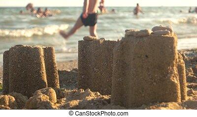 tours, fin, sable, haut.