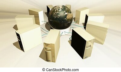 tours, globe, informatique, intérieur, cercle