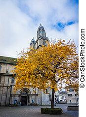 tours, grossmunster, moyen-âge, cathédrale, zurich.