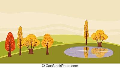 tours, isolated., moderne, lac, conception, paysage, à, style, campagne, utumn, vert, étang, plat, ferme, meules foin, text., illustration, grange, fond, dessin animé, ensilage, vecteur, endroit, rural, éolienne