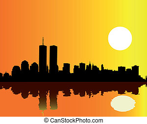 tours, jumeaux, ciel, contre, orange
