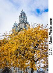 tours, moyen-âge, cathédrale, zurich., grossmunster