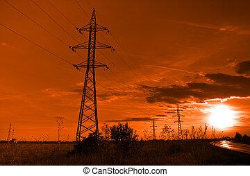 tours, soleil, powerlines, -, électricité, coucher soleil