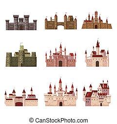 tours, style, moyen-âge, forteresse, ancien, isolé, illustration, âges, toits, élevé, milieu, bannières, vecteur, architecture, srt, châteaux, palais, conique, dessin animé, europe